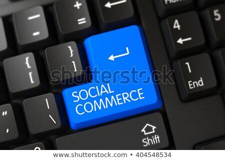 Niebieski społecznej commerce przycisk klawiatury 3D Zdjęcia stock © tashatuvango
