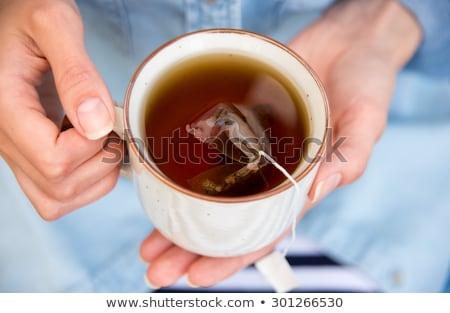 肖像 少女 パジャマ 茶碗 幸せ ストックフォト © deandrobot