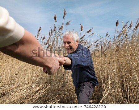 mature man getting helping hand in field Stock photo © IS2
