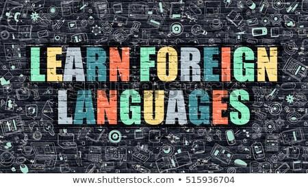 Leren buitenlands talen donkere muur doodle Stockfoto © tashatuvango