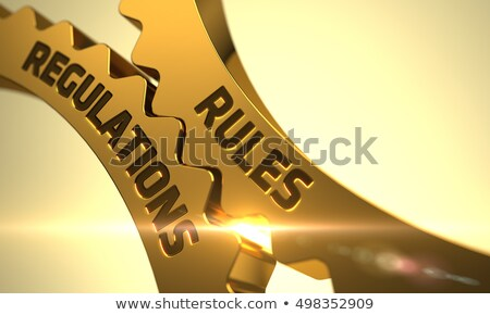 Document Regulations Concept. Golden Metallic Cog Gears. Stock photo © tashatuvango