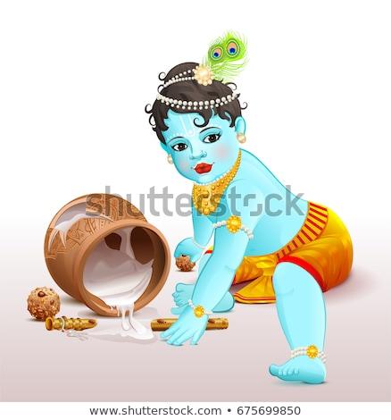Happy Krishna Janmashtami. Blue boy god broke pot with yogurt Stock photo © orensila
