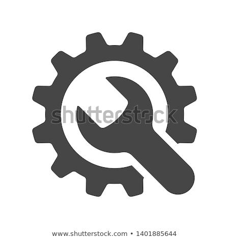Engineering icon versnelling sleutel dienst symbool Stockfoto © WaD