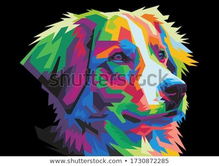 аннотация собака голову татуировка иллюстрация черно белые Сток-фото © orensila