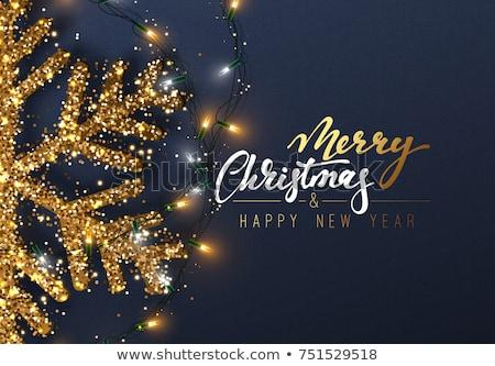 Vidám karácsony boldog új évet arany hópelyhek terv Stock fotó © Leo_Edition