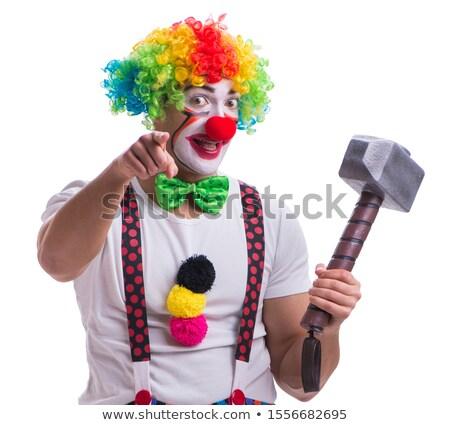 Clown kleurrijk pants wijzend gelukkig Stockfoto © derocz