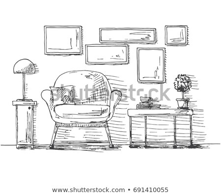 hand drawn chair table with a plant and a cup on the wall hang the frame vector illustration of a stock photo © arkadivna