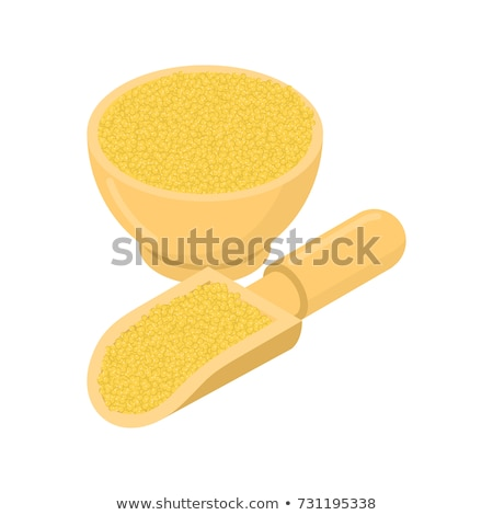 millet in wooden bowl and spoon groats in wood dish and shovel stock photo © maryvalery