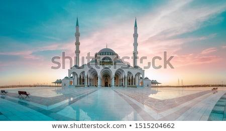 mecset · sziluett · naplemente · tájkép · sötét · Ázsia - stock fotó © szefei