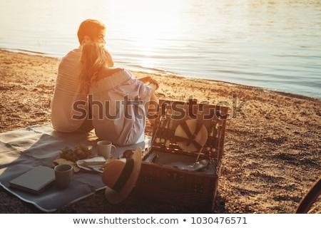 para · piknik · trzymając · się · za · ręce · uśmiechnięty · człowiek · portret - zdjęcia stock © is2