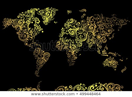 World Map Glowing Vines Stock photo © lenm