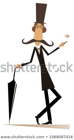 Cartoon largo bigote hombre cigarro paraguas Foto stock © tiKkraf69