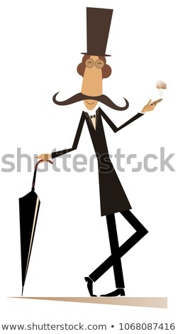 Cartoon long mustache man with cigar and umbrella isolated illustration Stock photo © tiKkraf69