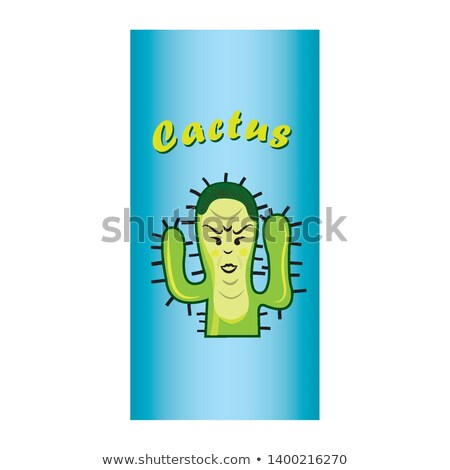Cartoon cowboy Kaktus roślin etykiety niebieski Zdjęcia stock © blumer1979
