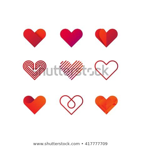 Foto stock: Coração · logotipo · conjunto · vetor · ícone · forma · de · coração