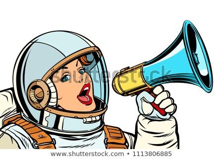 mujer · de · negocios · megáfono · ilustración · formato · eps - foto stock © studiostoks