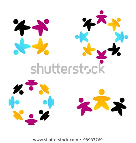 Diverse people icon set with multi cultural team Stock photo © cienpies