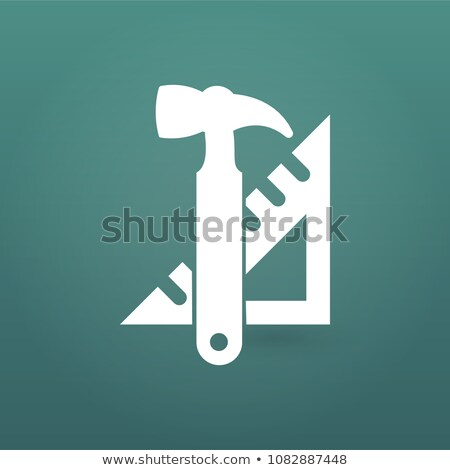 Stock fotó: Instruments Icon Hummer And Triangle Ruler Tools Icon Work Vector Illustration Isolated On Moder