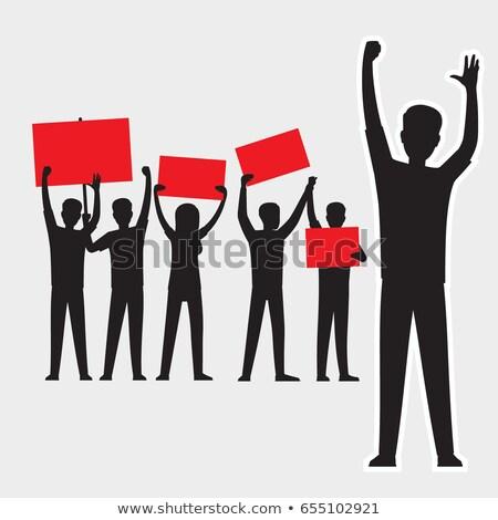 Férfi sziluett piros illusztráció rajz fekete Stock fotó © robuart