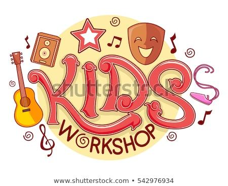 дети семинар логотип типографики иллюстрация готовый Сток-фото © lenm