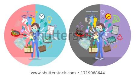 Conjunto mulheres multitarefa escritórios cabelo Foto stock © toyotoyo