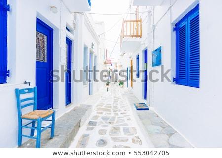 Tipik mavi balkon Yunan ev Yunanistan Stok fotoğraf © Photooiasson