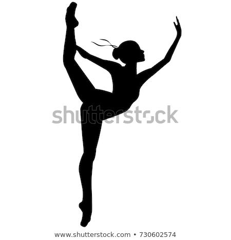 bailarín · saltar · silueta · mujer · baile · aire - foto stock © krisdog