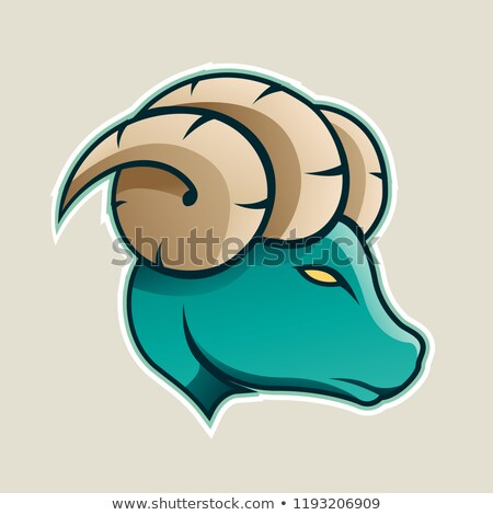 Persian Green Aries or Ram Icon Front View Vector Illustration Stock photo © cidepix