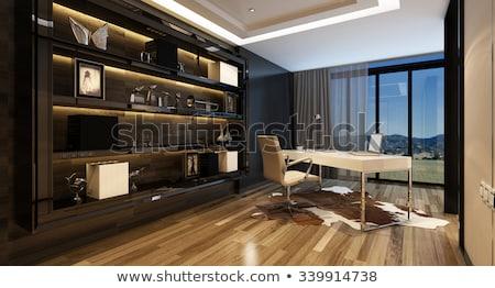 fehér · lámpa · fából · készült · munka · asztal · 3D - stock fotó © iriana88w