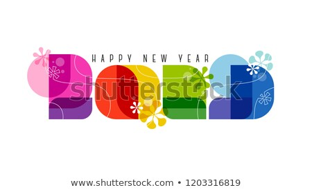 60-as évek retró stílus számok boldog új évet üdvözlet izolált Stock fotó © ussr