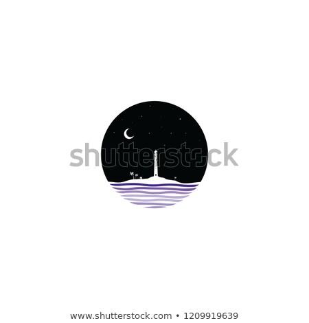 midnight scene lighthouse sign symbol Stock photo © vector1st