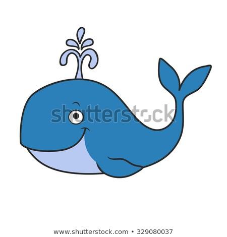 счастливым Cartoon кит иллюстрация глядя Сток-фото © cthoman