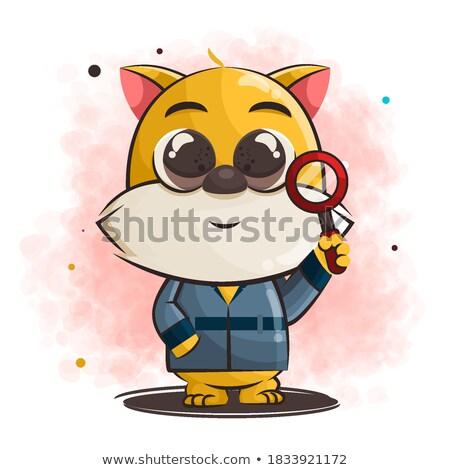 Cartoon улыбаясь детектив котенка счастливым Сток-фото © cthoman