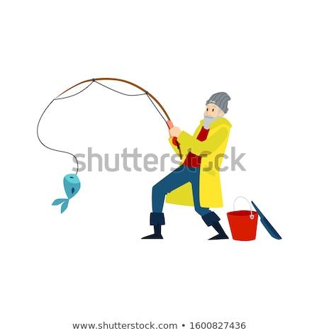 Karikatür balıkçı gülen örnek adam balık Stok fotoğraf © cthoman