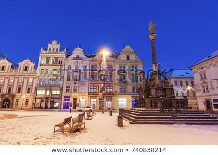 plaque pillar on republic square in pilsen stock photo © benkrut