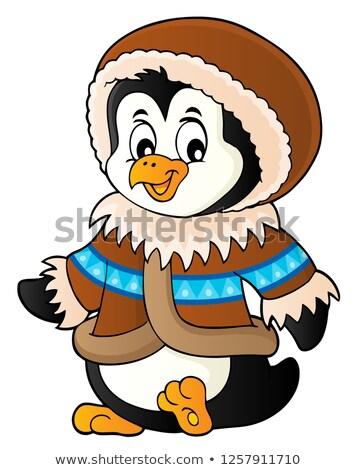 Pinguino inverno abbigliamento moda arte uccello Foto d'archivio © clairev