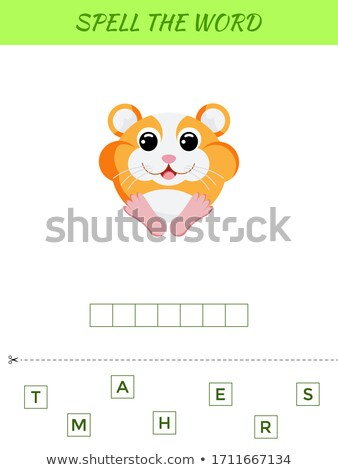 Spelling word scramble game template with hamster Stock photo © colematt