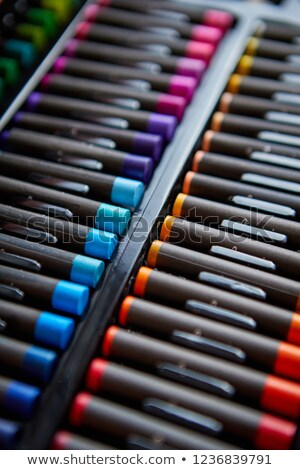 Rows of professional colorful crayons placed in order Stock photo © dash