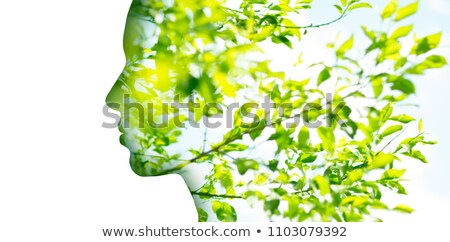 Foto stock: Double Exposure Woman Profile With Tree Foliage
