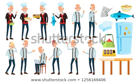 asian old man poses set vector elderly people senior person aged chef in restaurant rolls fish stock photo © pikepicture