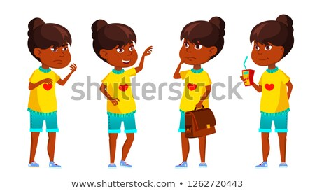 indian girl kid poses set vector primary school child hindu asian knowledge learn lesson for stock photo © pikepicture