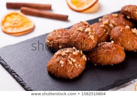 Görög karácsony sütik házi készítésű mandulák porcukor Stock fotó © mpessaris