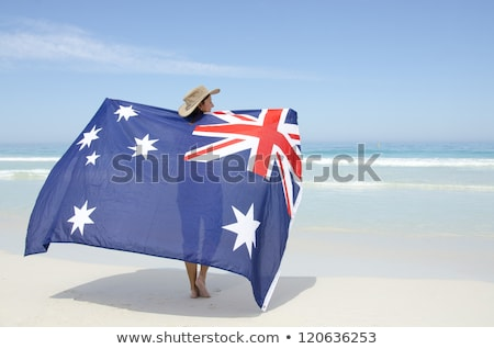 Stok fotoğraf: Happy Female Australia Day Beach Celebration