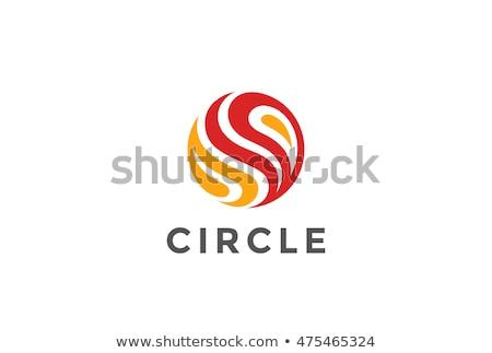 red fire planet globe logo vector icon symbol stock photo © blaskorizov