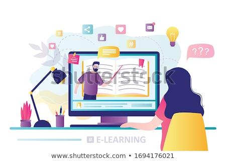 Lányok online oktatás ikon illusztráció könyv telefon Stock fotó © colematt