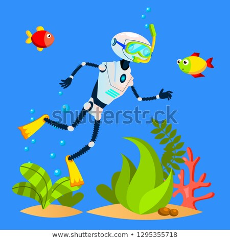 Stockfoto: Robot Tourist Swimming Among Fish With Diving Mask Vector Isolated Illustration