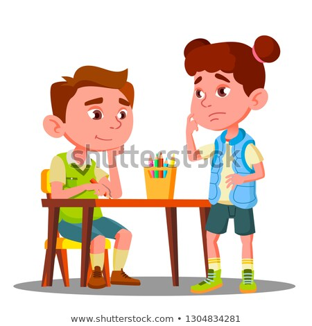 Boy Drawing With Colored Pencils And Offended Girl Stands Next To Him Vector. Isolated Illustration Stock photo © pikepicture