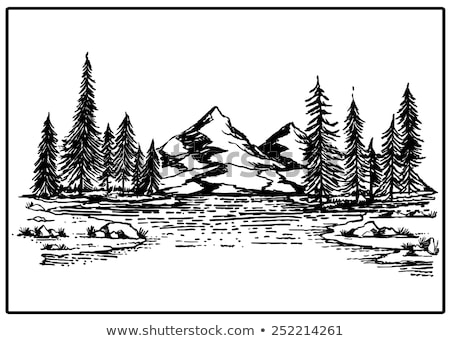 Stock photo: River scene with trees and mountains