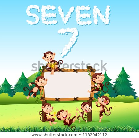 seven monkey at the wooden board stock photo © colematt