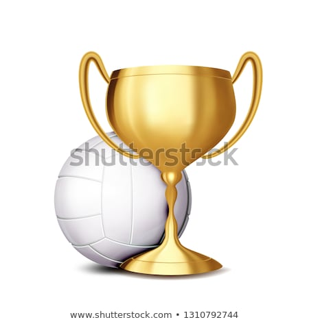 Volleyball Award Vector. Volleyball Ball, Golden Cup. Banner Advertising. Sport Event Announcement.  Stock photo © pikepicture
